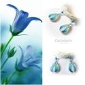 Kék tulipán - gyöngyház fülbevaló, Ékszer, óra, Esküvő, Fülbevaló, Esküvői ékszer, Egyedi, kézzel festet gyöngyház fülbevaló.  A tulipán a nőiség szimbóluma, a termékenység energiáit ..., Meska