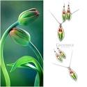 Páros tulipános - üveg ékszer szett, Ékszer, Ékszerszett, Fülbevaló, Nyaklánc, Egyedi, kézzel festett, üveg nyakék hozzá illő fülbevalóval.  A tulipán a nőiség szimbóluma, a termé..., Meska