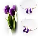 Lila tulipán gyöngyház nyakék, Ékszer, Magyar motívumokkal, Nyaklánc, Medál, Gyöngyház tulipán  nyaklánc  a kifogyhatatlan NŐiség jegyében.   Sötét lila színével a természetben ..., Meska