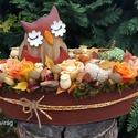 Őszi színek harmóniája - asztali dísz csónak alakú bádog kaspóban