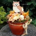 Baglyos őszi asztaldísz - gömb kaspóban