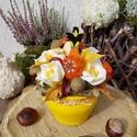 Varjas őszi asztaldísz - gömb kaspóban , Sárga színűre festett 8 cm-es kerámia tálba t...