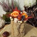Parafarönk őszi díszben, asztaldísz, Parafa rönköt béleltem oázissal. Abba narancss...