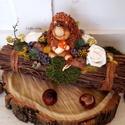 Sünis rőzsedísz - őszi asztali kompozíció, Rőzsekötegeket rögzítettem egymáshoz, amit az...
