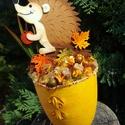 """Sünis őszi asztaldísz , Dekoráció, Otthon, lakberendezés, Ünnepi dekoráció, Asztaldísz, """"Itt van az ősz, itt van ujra""""  Petőfi Sándor versének ide vágó sorával köszöntjük az őszt.  Az első..., Meska"""