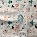 Ovis lepedő - erdei állatok, Gyerek & játék, Gyerekszoba, Falvédő, takaró, Kedves pasztell színvilágó textil erdei állatokkal.  A lepedő több méretben is kérhető, négy sarkán ..., Meska