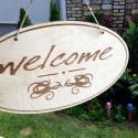 'Welcome' feliratú tábla ajtódísz, Dekoráció, Otthon, lakberendezés, Dísz, Ajtódísz, kopogtató, Famegmunkálás, Fából, kézzel és lézervágással készített magyar termék, új.  , Meska