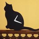 Fából készült fekete macska falióra, Ékszer, Dekoráció, Otthon, lakberendezés, Falióra, óra, Fából, kézzel és lézervágással készített magyar termék, új.   Méret: 30 cm magas, Meska