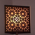 Marokkói mintás saroklámpa, hangulatvilágítás, Otthon, lakberendezés, Dekoráció, Lámpa, Famegmunkálás, Kellemes, izgalmas, romantikus hangulatot árasztó saroklámpa. Falra, sarokba szerelhető fel, 4W -os..., Meska