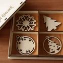 Karácsonyi díszek karácsonyfadísz fa díszdobozban 12 db dísz, Dekoráció, Ünnepi dekoráció, Karácsonyi, adventi apróságok, Karácsonyi dekoráció, A képeken látható natúr karácsonyi díszek, karácsonyi kellékek natúr fadobozban, összesen ..., Meska