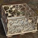Fa doboz 'Szeretettel' felirattal, születésnapra, Valentin napra, randevúra, Dekoráció, Otthon, lakberendezés, Tárolóeszköz, Doboz, Fából, kézzel és lézervágással készített magyar termék, új. Lehet bele tenni bonbont, virágot... Kér..., Meska
