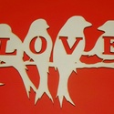 Madaras LOVE fa tábla falidísz dekoráció, Dekoráció, Otthon, lakberendezés, Dísz, Falikép, Ajtódísz, kopogtató, Natúr, kezeletlen fából, kézzel és lézervágással készített magyar termék, új.  A képen látható mintá..., Meska