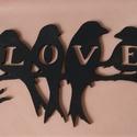 Madaras LOVE fa tábla falidísz dekoráció - fekete, Dekoráció, Otthon, lakberendezés, Dísz, Falikép, Ajtódísz, kopogtató, Fából, kézzel és lézervágással készített magyar termék, új.  A képen látható mintával,  igény és meg..., Meska