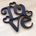 LOVE felírat szivekkel fából, dísz, falidísz, dekoralap, Dekoráció, Otthon, lakberendezés, Dísz, 3mm rétegelt lemezből készült LOVE felirat szívekkel. Igény szerint naturan ill. más színben..., Meska