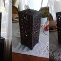 Marokkói mintás asztali lámpa, hangulatvilágítás, Otthon, lakberendezés, Dekoráció, Lámpa, Asztali lámpa, Famegmunkálás, Kellemes, izgalmas, romantikus hangulatot árasztó asztali lámpa, dió színre lepácolva.  4W -os LED ..., Meska
