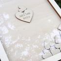 """Különleges esküvői vendégkönyv, Esküvő, Dekoráció, Esküvői dekoráció, Kép, Fából készült esküvői """"vendégkönyv"""", középen rögzített, nagyobb méretű szívvel, melyre rágravírozzuk..., Meska"""