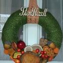 Őszi kopogtató 2. / ajtódísz, Dekoráció, Otthon, lakberendezés, Ajtódísz, kopogtató, Virágkötés, 20 cm-es koszorú alapra készült kopogtató , termésekkel díszített az ősz jegyében ., Meska