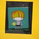 Pöttyös labdás kisfiú-festett fa hűtőmágnes, Dekoráció, Kép, Dísz, 4,5x5cm -es falap festve, Meska
