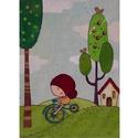 Bicikliző kislány-kis festett vászon kép, Baba-mama-gyerek, Dekoráció, Gyerekszoba, Kép, Festészet, Fotó, grafika, rajz, illusztráció, mérete:15x9,6cm kartonra kasírozott vászon alapú festett kis kép, dekor, aranyos ajándék, Meska