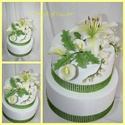 Cukorvirág liliom -kála-frézia csokor / tortadísz fehér/, Esküvő, Dekoráció, Ünnepi dekoráció, Húsvéti apróságok, Festett tárgyak, Mindenmás, Egyedi kézzel, drótozott technikával készített cukorvirágok.Megtévesztésig hasonlítanak az eredetih..., Meska