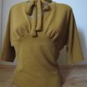 Nyakmasnis női blúz, Mustársárga női blúz nyakán megköthető masn...