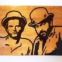 Bud Spencer Terence Hill Fali kép, Dekoráció, Kép, Famegmunkálás, Rétegelt lemezre égetett Bud Spencer Terence Hill ábra. Képakasztóval szerelve a hátoldalon. 2 réte..., Meska