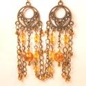 Narancssárga bronzos fülbevaló 1., Ékszer, óra, Fülbevaló, Dekoratív bronz alapra készítettem ezt a fülbevalót. Színeiben a narancssárga és a bronz dom..., Meska