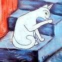 Fehér Macska ebéd után (nagy táblakép), Dekoráció, Állatfelszerelések, Dísz, Kép, Festészet, Mindenmás,  Saját készítésű festményem után, amely pasztell krétával készült. Ez a  nyomat lett felkasírozva (..., Meska