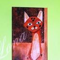 A macska (Szavanna), Dekoráció, Képzőművészet, Otthon, lakberendezés, Kép, Festészet, Vászonra készült, akril festékkel készített gyönyörű,színes festmény. Vegyes technika alkalmazásáva..., Meska