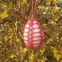 Horgolt húsvéti tojás, Dekoráció, Ünnepi dekoráció, Húsvéti díszek, Hungarocell tojás horgolt díszítéssel.  A tojás mérete akasztó nélkül 7 cm. Igény szerint ..., Meska