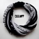 Szürke-fekete, vastag, őszi, recycled sál-nyaklánc (cirrhopp) - Meska.hu