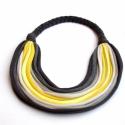Sokszálas BASIC nyaklánc - szürke/sárga, Ékszer, óra, Nyaklánc, Sokszálas nyaklánc kizárólag textilből készítve. Nem tartalmaz allergén anyagokat.  Hossza kb 65 cm...., Meska