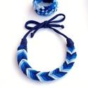 Tribequa/Fishbone kék szett - textilékszer, FISHBONE nyaklánc TRIBEQUA karkötővel. Antialle...