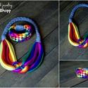 Szivárvány textil, kelta csomós nyaklánc +Tribequa karkötő, Kelta csomós nyaklánc kizárólag textilből ké...