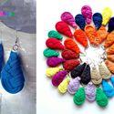 Textilfülbevaló - csepp alakú - petrolkék, Ékszer, óra, Fülbevaló, Puha, csepp alakú fülbevaló textilből készítve.   Hossza kb 4-5cm + nikkelmentes szerelék.  Kérhető ..., Meska