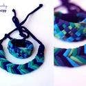 Kék/zöld Fishbone nyaklánc Tribequa karkötővel, Fishbone nyaklánc és Tribequa karkötő szettben...