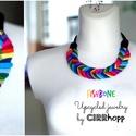 FISHBONE nyaklánc - szivárvány/fekete, Fonott textilnyaklánc szivárvány színekben. Ho...