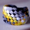 Sárga/szürke/fekete TRIBEQUA széles textil karkötő  , Ékszer, óra, Karkötő, kb 4,5 cm széles textilkarkötő harmonizáló színekben kb 17-19 cm-es csuklóra.   Mosható, fektetve sz..., Meska