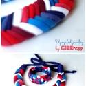 Kék/piros Fishbone nyaklánc Tribequa karkötővel, Ékszer, óra, Nyaklánc, Franciás. :) Fishbone nyaklánc Tribequa karkötővel kizárólag textilből készítve. Nem tartalmaz aller..., Meska