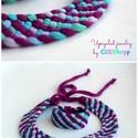 TRIBEQUA Swirl - textilszett, lila/pasztell vízszínek, Ékszer, óra, Karkötő, Tribequa Swirl. Antiallergén, ahogy az a textilékszereimnél már megszokott. Kérhető hosszabb-rövideb..., Meska