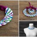 TRIBEQUA Swirl - textilszett, fehér/kék-zöld, Ékszer, óra, Karkötő, Tribequa Swirl. Antiallergén, ahogy az a textilékszereimnél már megszokott. Kérhető hosszabb-rövideb..., Meska
