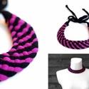 TRIBEQUA Swirl - textilszett, lila/fekete, Ékszer, óra, Karkötő, Tribequa Swirl. Antiallergén, ahogy az a textilékszereimnél már megszokott. Kérhető hosszabb-rövideb..., Meska