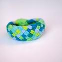 TRIBEQUA - textil karkötő, kék/zöld, Ékszer, óra, Karkötő, Textilkarkötő élénk színekben, lágy vonalakkal.  Hosssza kb 17-18 cm, de ha rendeléskor megadod a cs..., Meska