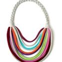 Szürke/színes  textil, sokszálas BASIC nyaklánc, Teljes hossza 65 cm. BASIC nyaklánc kizárólag t...