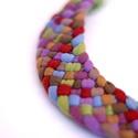 Lila/zöld TRIBEQUA textilnyaklánc,  Tribequa nyaklánc élénk színekben. Nem tartal...