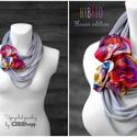 HYBRIO Flower edition sál-nyaklánc - szürke, 3 pinnel, Ékszer, óra, Nyaklánc, HYBRIO Sál-nyaklánc 3 virágot formázó brossal kizárólag textilből készítve. Nem tartalmaz allergén a..., Meska
