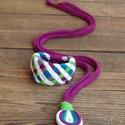 LOOG nyaklánc + Tribequa karkötő - lila/fehér/kék/zöld, Ékszer, óra, Nyaklánc, Visszafogott, csepp alakú medálos nyaklánc: LOOG, melyet vonzanak a lengébb ruhadarabok, nyári felső..., Meska