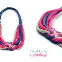 Pink/acélkék/szürke textil, kelta csomós nyaklánc, Kelta csomós nyaklánc kizárólag textilből ké...