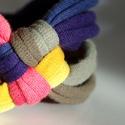 DIAGONAL - textil karkötő, acélkék/okker/lazac/keki, Ékszer, Karkötő, Új karkötőkollekció, amely a DIAGONAL névre hallgat.  Antiallergén, ahogy az a textilékszereimnél má..., Meska
