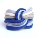 LASSO - textil karkötő, acélkék/drapp/bézs, Ékszer, óra, Karkötő, Új karkötőkollekció, amely a LASSO névre hallgat.  Antiallergén, ahogy az a textilékszereimnél már m..., Meska